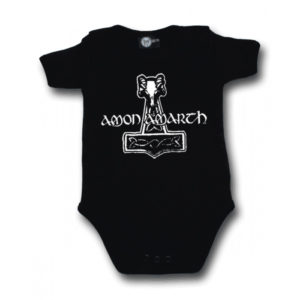Amon Amarth hammer logo black ベビー ロンパース