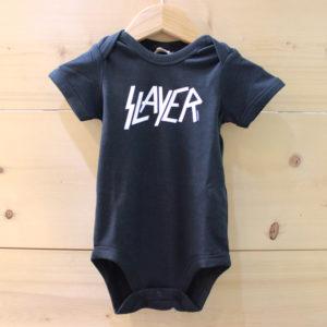 Slayer white logo black ベビー ロンパース